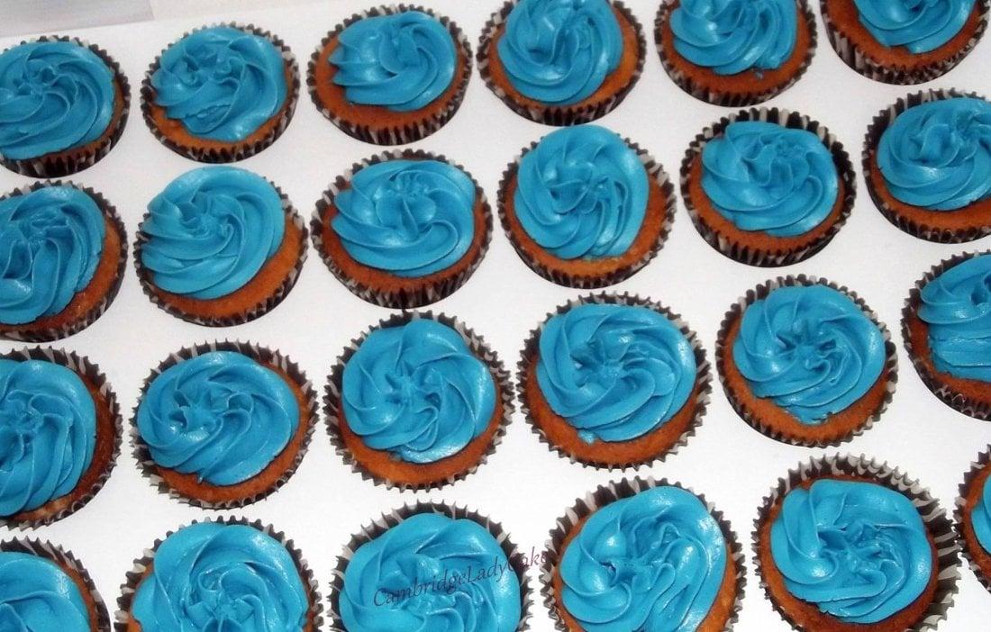 blue icing vanilla cupcakes