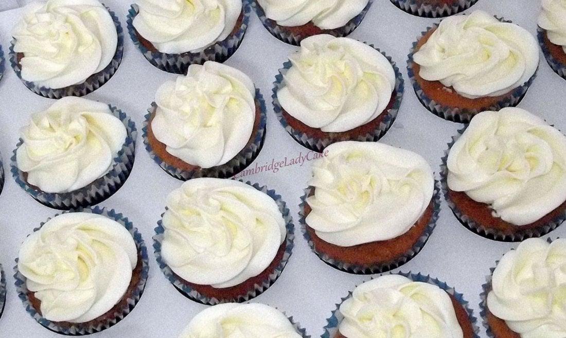 vanilla cupcakes wih cheese cream.